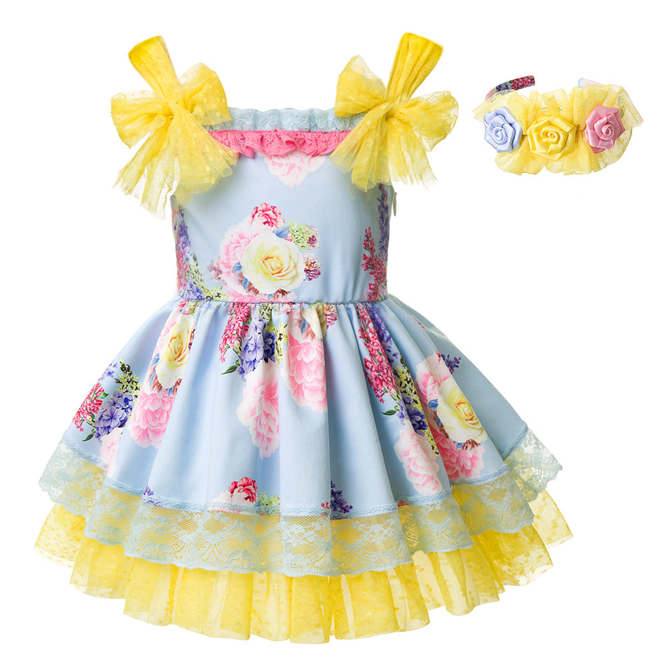 Beautiful Floral Sleeveless Summer Dress With Headband - girls dress - Floral yellow / 2 - Strawbie Collections