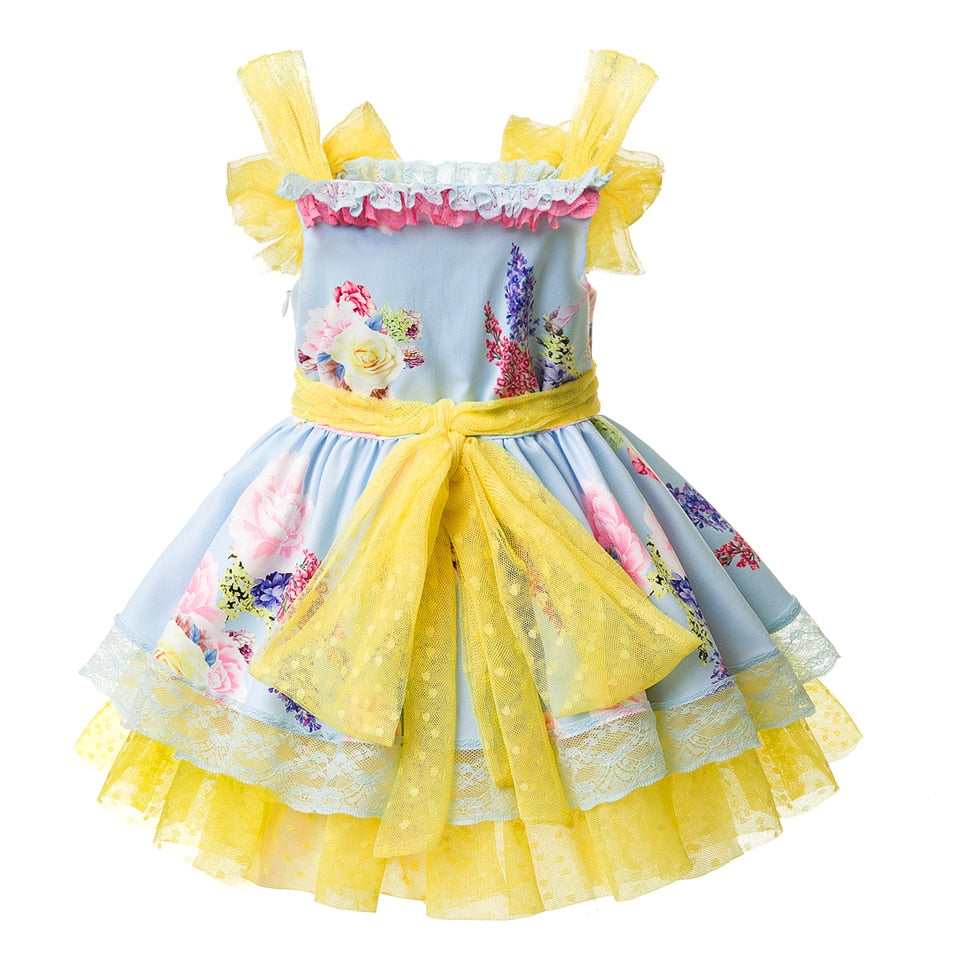 Beautiful Floral Sleeveless Summer Dress With Headband  in Strawbie Collections - girls dress