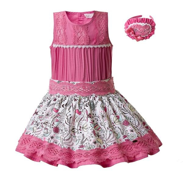 Pink Floral Skirt And Sleeveless Top Sets With Headband Pink Floral / 8 in Strawbie Collections - girls dress