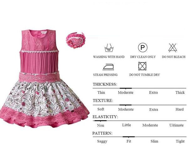 Pink Floral Skirt And Sleeveless Top Sets With Headband  in Strawbie Collections - girls dress