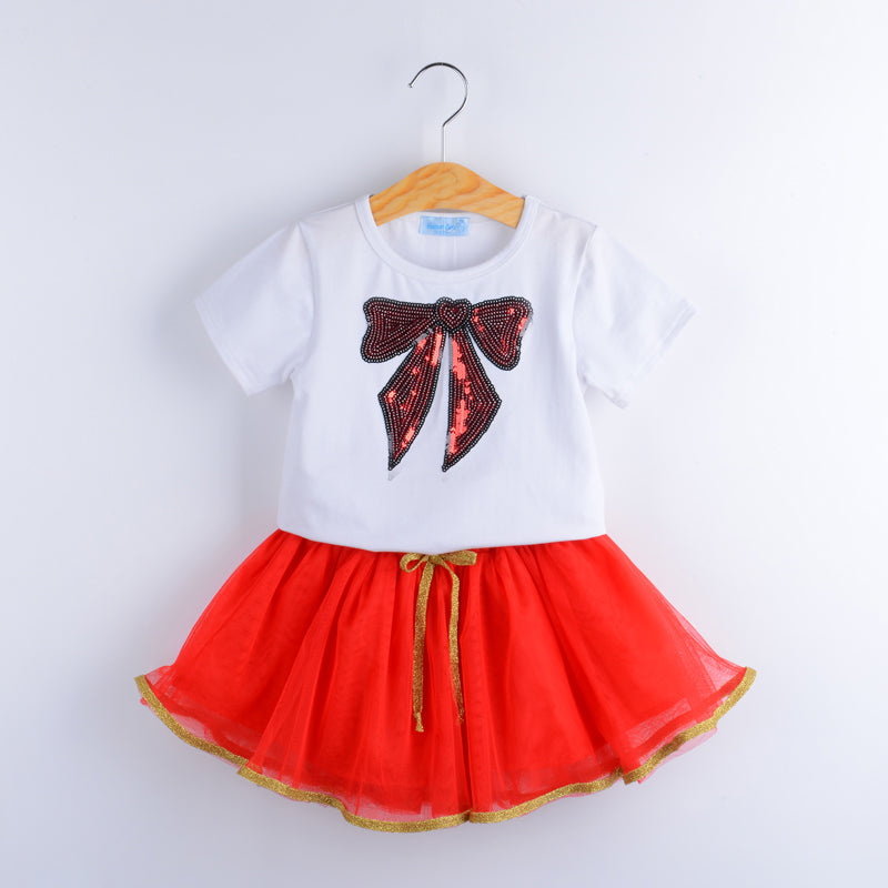 Sequin Decorated Tee Tops With Beautiful Tutu Skirt Sets white / 6 in Strawbie Collections - girls dress set