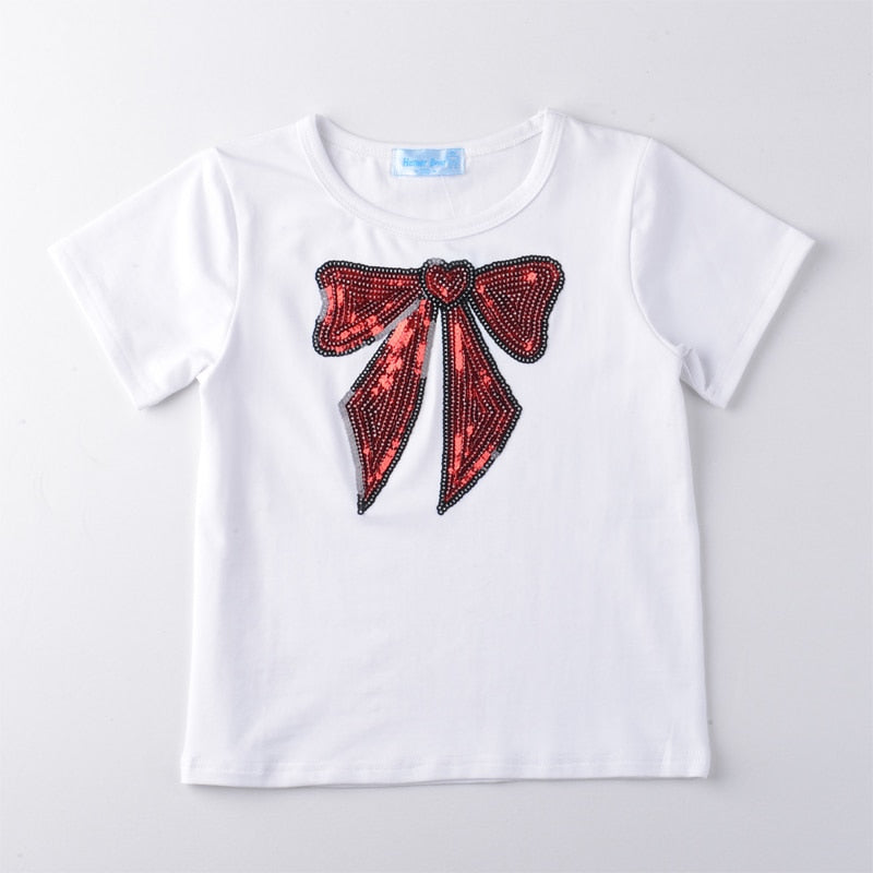 Sequin Decorated Tee Tops With Beautiful Tutu Skirt Sets  in Strawbie Collections - girls dress set