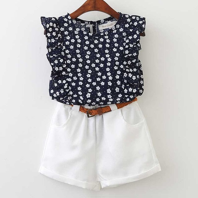 Comfy Casual Tee And Cotton Shorts With Belt Sets - girls dress set - Navy Blue ap001 / 3 - Strawbie Collections