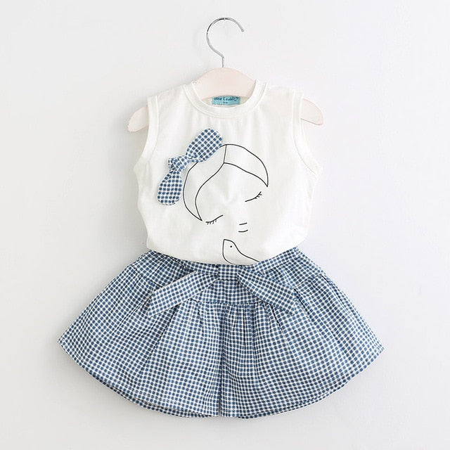 Cute Girl Print Sleeveless Tops And Loose Cotton Shorts Sets - girls dress set - White az333 / 3 - Strawbie Collections