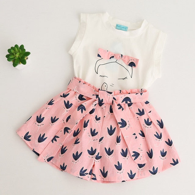 Cute Girl Print Sleeveless Tops And Loose Cotton Shorts Sets Pink / 7 in Strawbie Collections - girls dress set