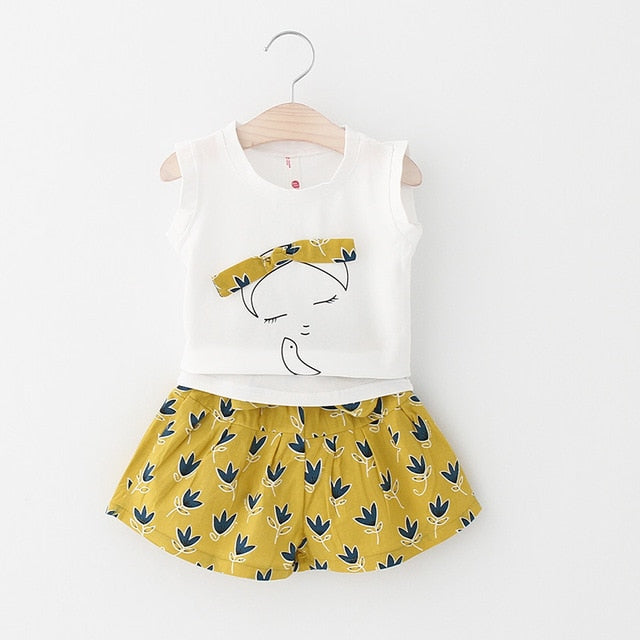 Cute Girl Print Sleeveless Tops And Loose Cotton Shorts Sets Yellow / 7 in Strawbie Collections - girls dress set