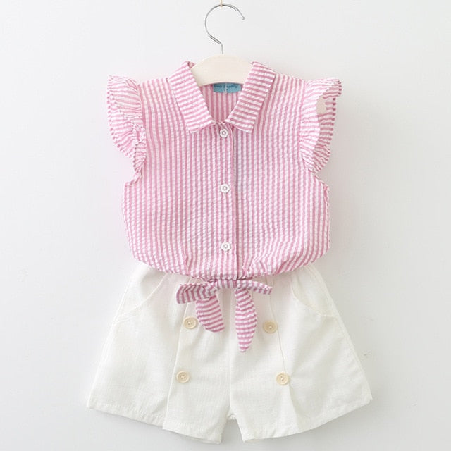 Super Cool Stripe Top And Fashionable Button Decorated Shorts Set pink az835 / 7 in Strawbie Collections - girls dress set