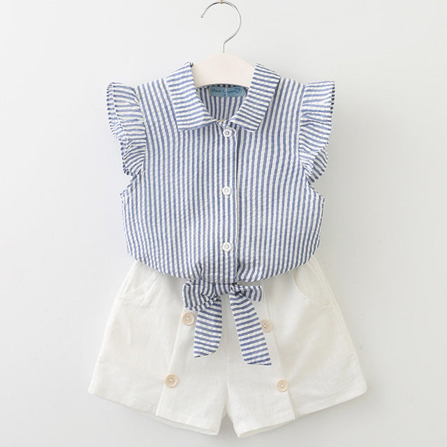 Super Cool Stripe Top And Fashionable Button Decorated Shorts Set blue az835 / 7 in Strawbie Collections - girls dress set