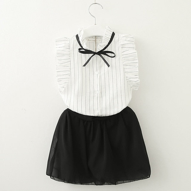 White Cotton Stripe Shirt With Black Skirt white az1542 / 7 in Strawbie Collections - girls dress set
