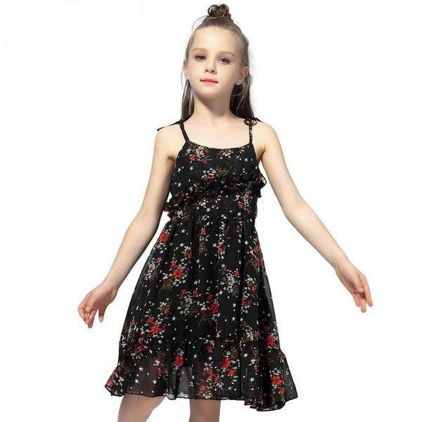 Sleeveless Summer Sling Chiffon Dress black / 2 in Strawbie Collections - girls dress