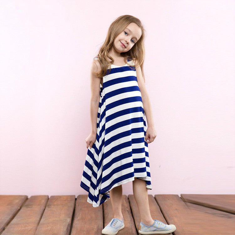 Soft And Comfortable Striped Irregular Dress - girls dress - Blue / 3 - Strawbie Collections