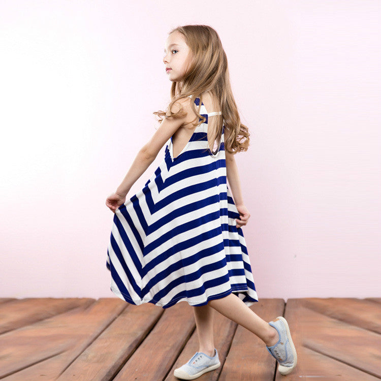 Soft And Comfortable Striped Irregular Dress  in Strawbie Collections - girls dress