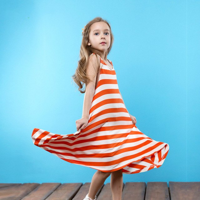 Soft And Comfortable Striped Irregular Dress Orange / 7 in Strawbie Collections - girls dress