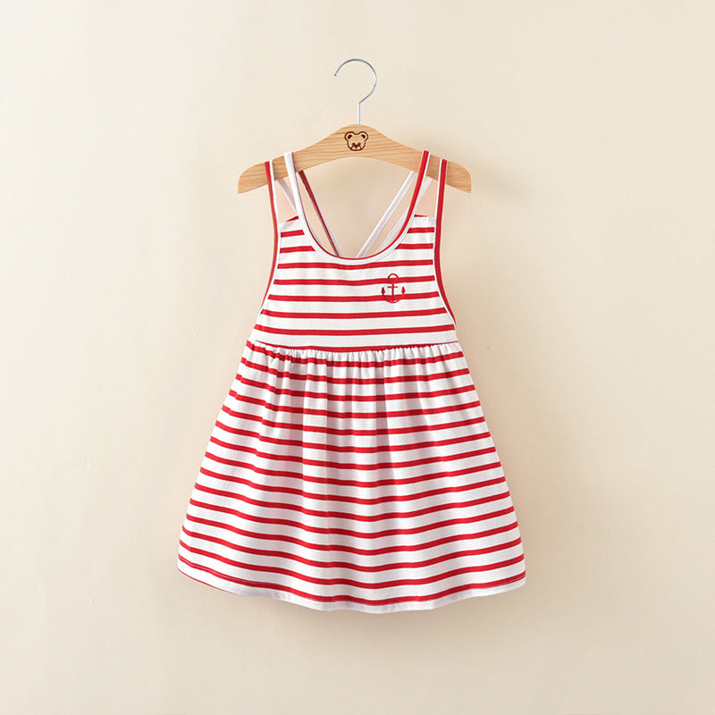 Striped Cotton Suspender Dress - girls dress - red / 2 - Strawbie Collections