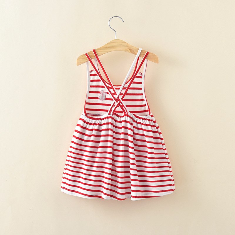Striped Cotton Suspender Dress  in Strawbie Collections - girls dress
