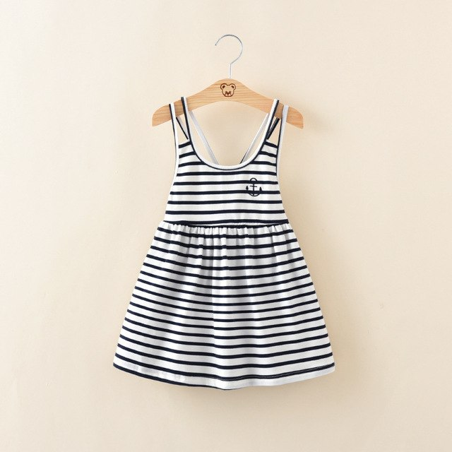 Striped Cotton Suspender Dress blue / 6 in Strawbie Collections - girls dress