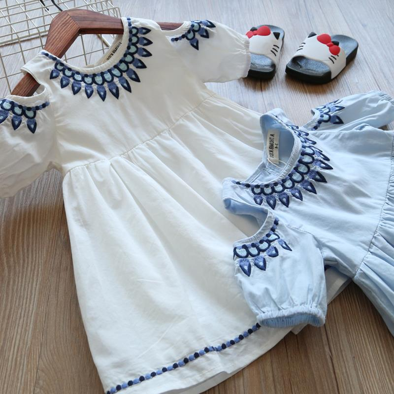 Cold Shoulder Cotton Dress Beautiful Embroidery  in Strawbie Collections - girls dress
