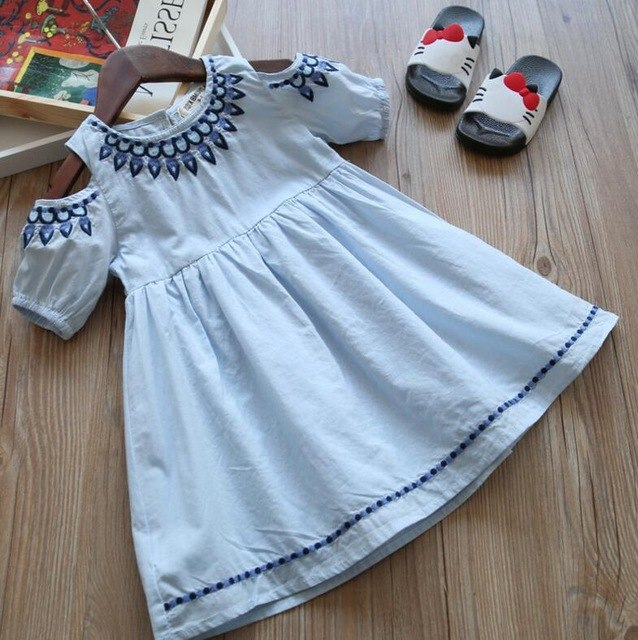 Cold Shoulder Cotton Dress Beautiful Embroidery Blue / 6 in Strawbie Collections - girls dress
