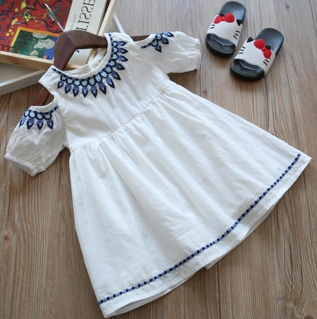 Cold Shoulder Cotton Dress Beautiful Embroidery White / 6 in Strawbie Collections - girls dress