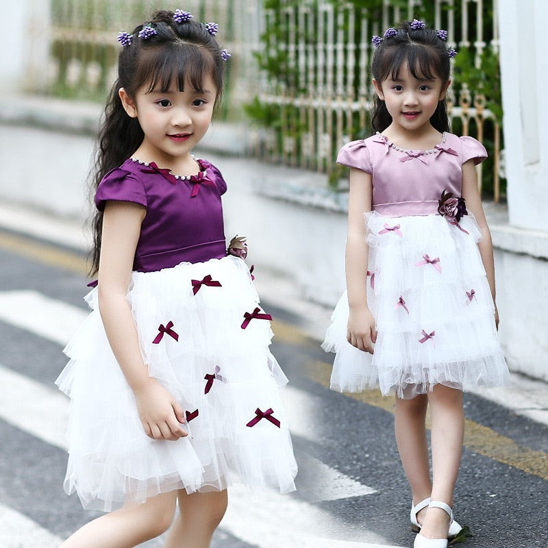 Vintage Mesh Princess dress with cute Bows  in Strawbie Collections - girls dress