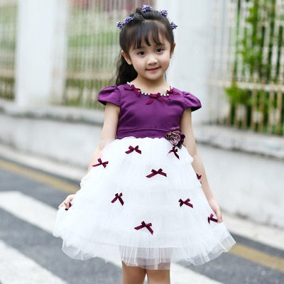 Vintage Mesh Princess dress with cute Bows Purple / 14 in Strawbie Collections - girls dress