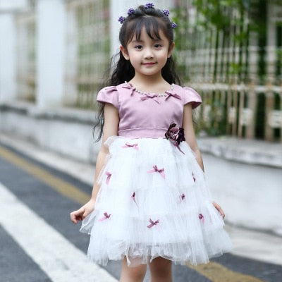 Vintage Mesh Princess dress with cute Bows Lavender / 14 in Strawbie Collections - girls dress