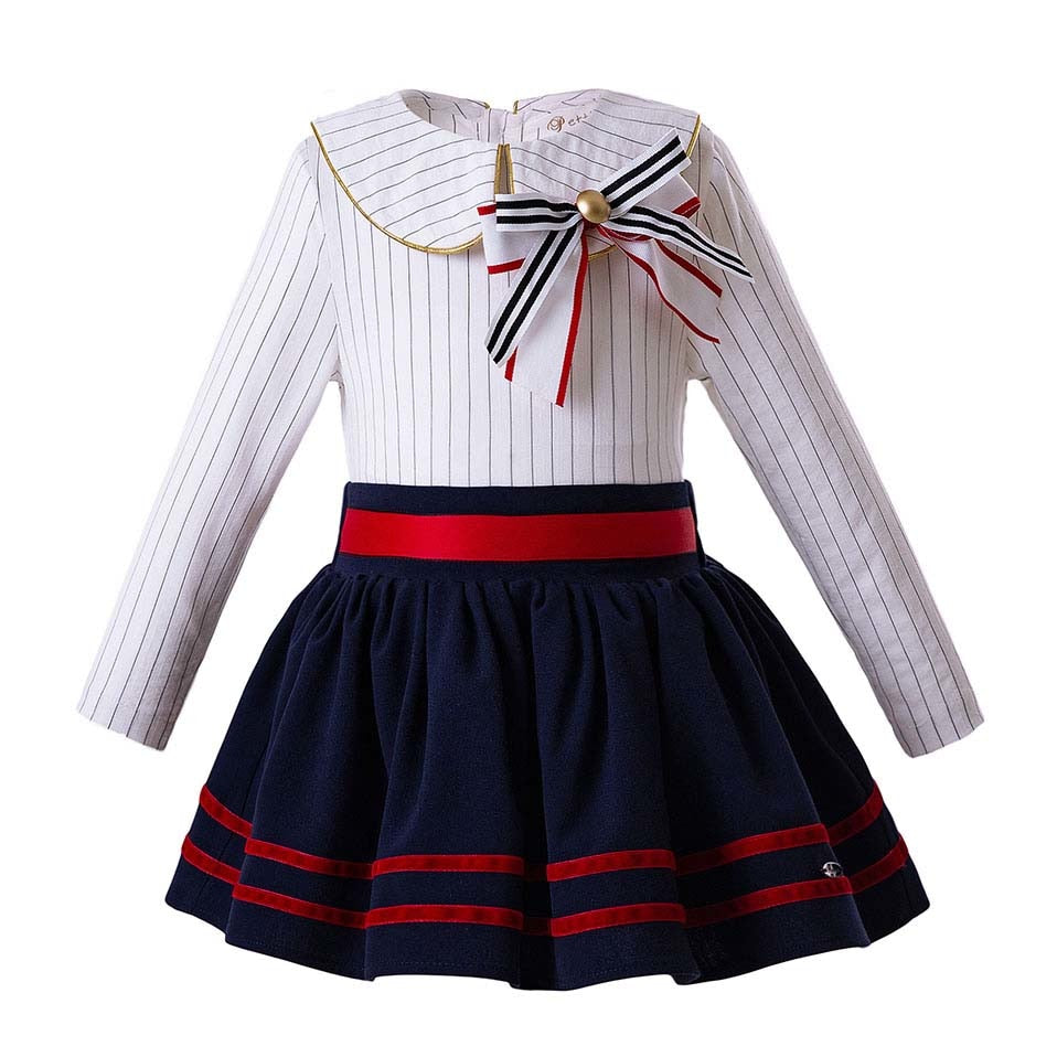Royal blue skirt with Striped Long Sleeve Blouse sets White n Navy / 8 in Strawbie Collections - girls skirt and top sets