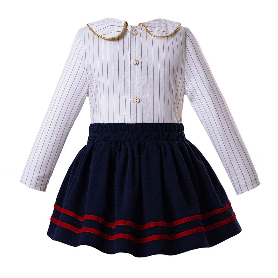 Royal blue skirt with Striped Long Sleeve Blouse sets  in Strawbie Collections - girls skirt and top sets