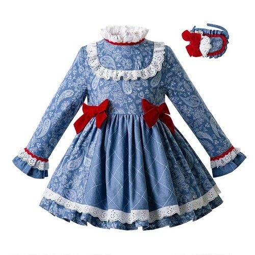 High Waist Floral Party Dress With Bows and Headband blue / 8 in Strawbie Collections - girls dress