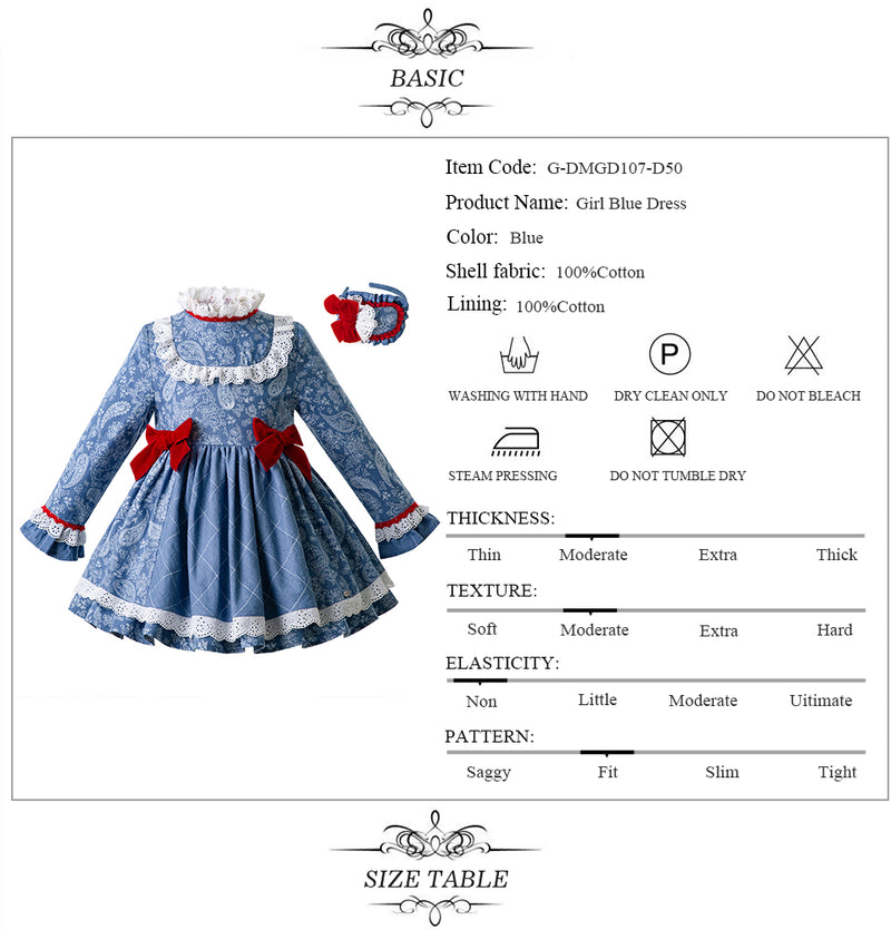 High Waist Floral Party Dress With Bows and Headband  in Strawbie Collections - girls dress
