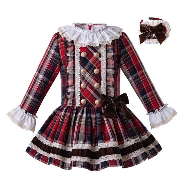 Retro Style Plaid Cotton Dress with Headwear multi / 8 in Strawbie Collections - girls dress
