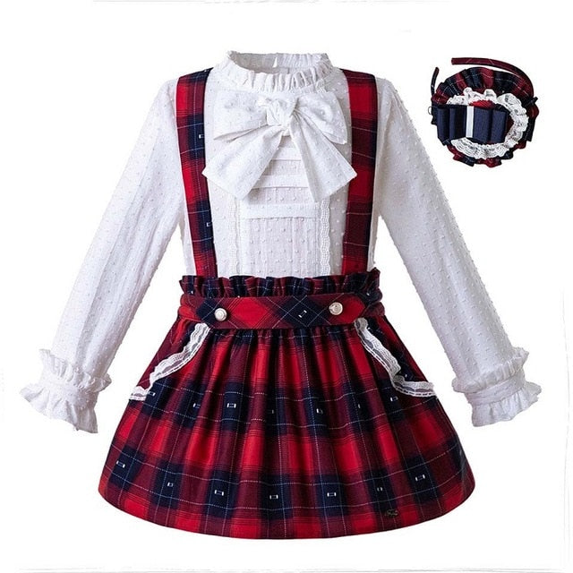 White Blouse with Plaid Skirts and Headwear As picture / 8 in Strawbie Collections - girls skirt and top sets