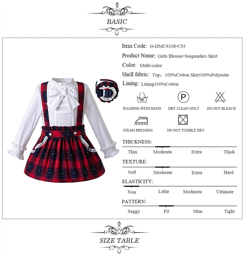 White Blouse with Plaid Skirts and Headwear  in Strawbie Collections - girls skirt and top sets