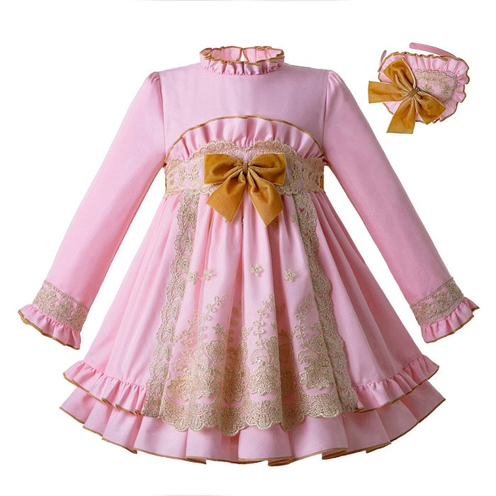 Long sleeve Lace Pink Party dress With Headband Pink / 8 in Strawbie Collections - girls dress