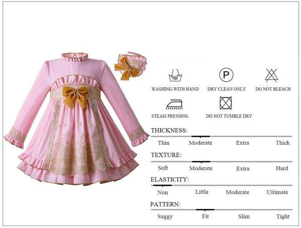 Long sleeve Lace Pink Party dress With Headband  in Strawbie Collections - girls dress