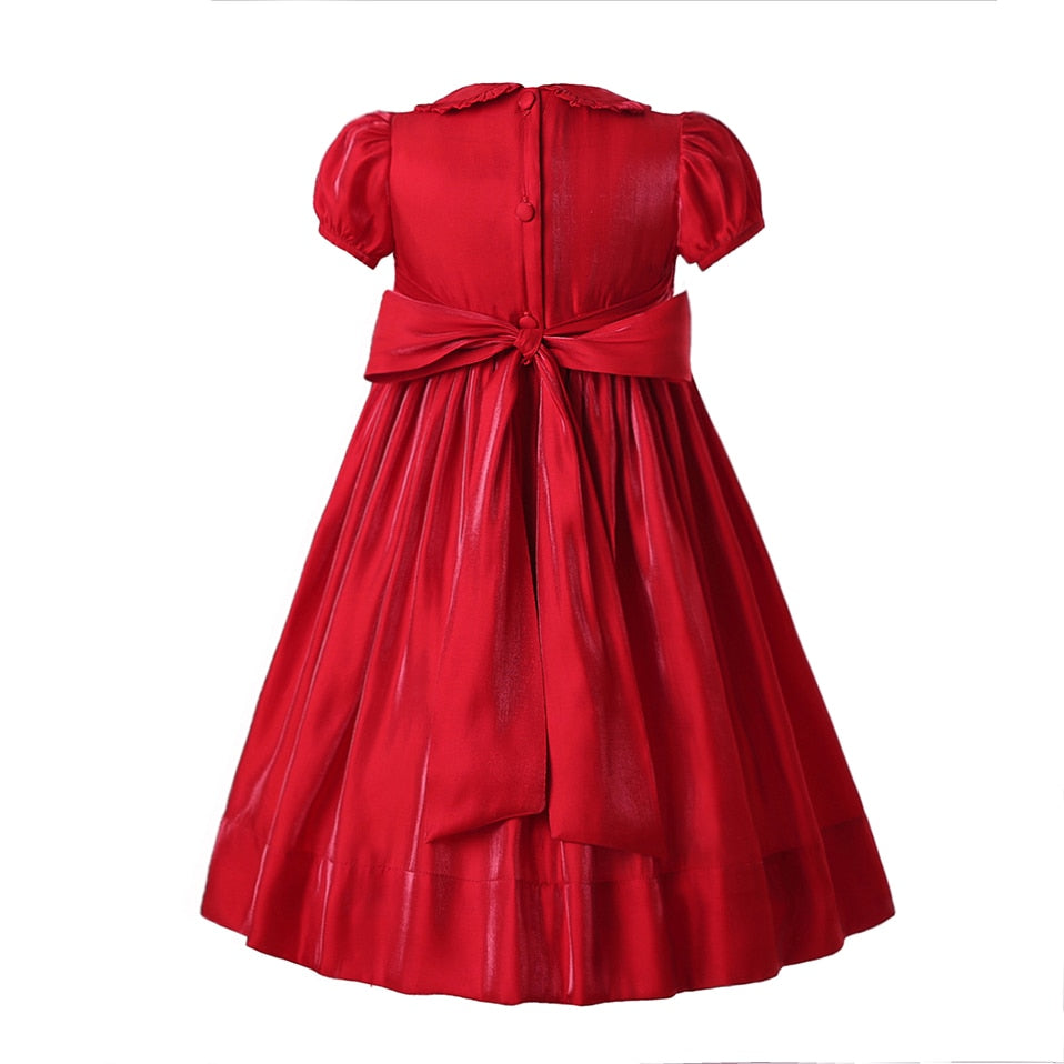 Christmas Smocking Flower Short Sleeveless Princess Dress  in Strawbie Collections - girls dress