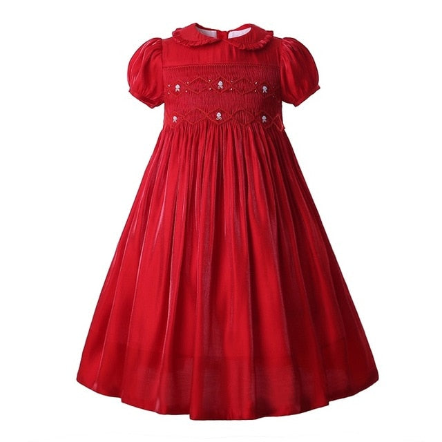 Christmas Smocking Flower Short Sleeveless Princess Dress as picture / 8 in Strawbie Collections - girls dress