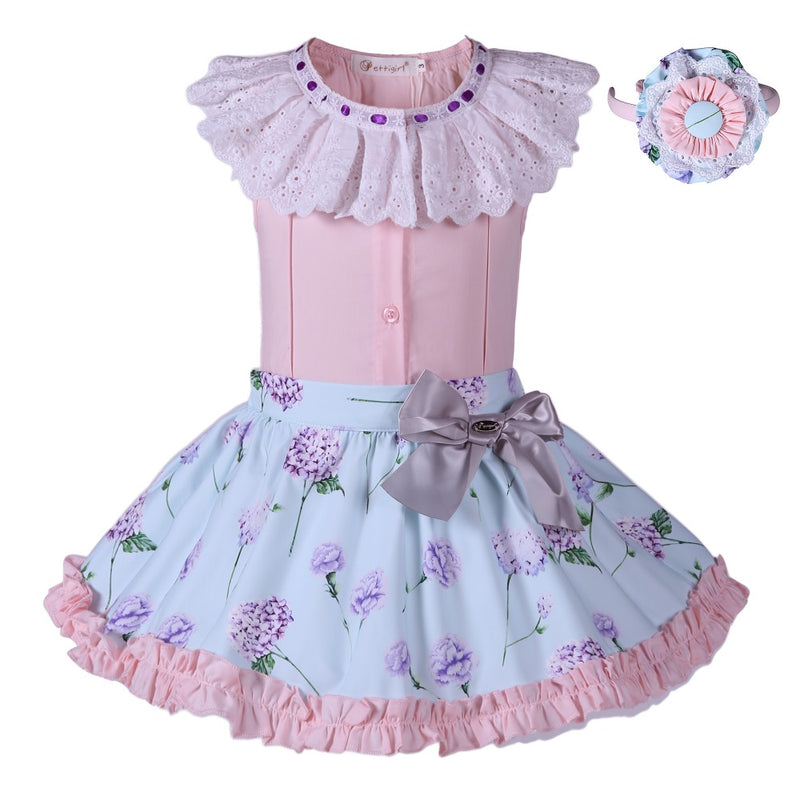 Floral Skirt With Pink sleeveless Blouse set with Headband  in Strawbie Collections - girls skirt and top sets