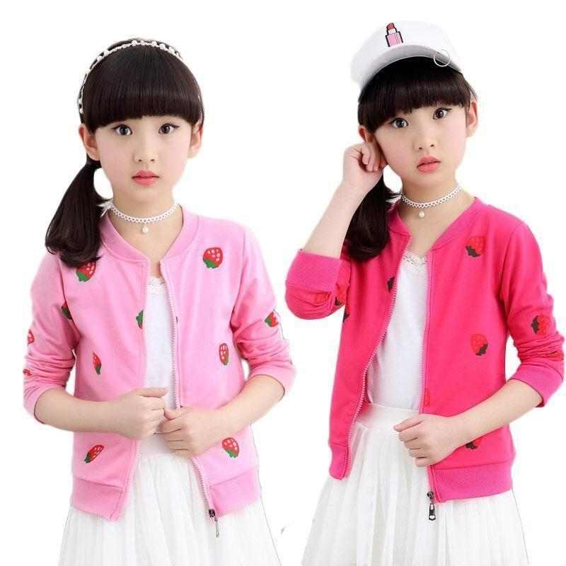 Strawberry Printed Coat For Girls - jackets - - Strawbie Collections