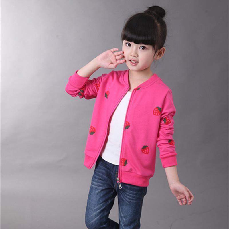 Strawberry Printed Coat For Girls - jackets - rose red / 2 - Strawbie Collections