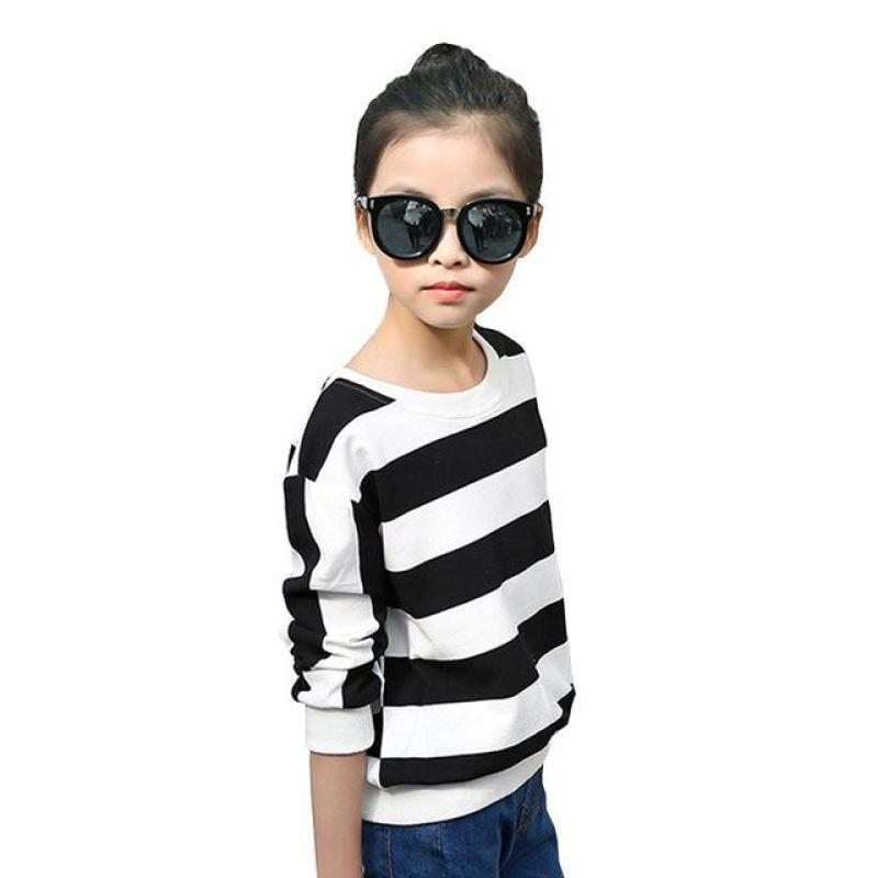 Striped Casual Tees For Girls Black / 15 in Strawbie Collections - girls T-Shirt