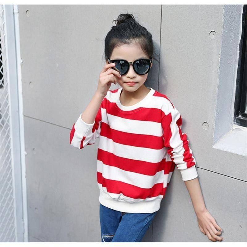 Striped Casual Tees For Girls Red / 15 in Strawbie Collections - girls T-Shirt