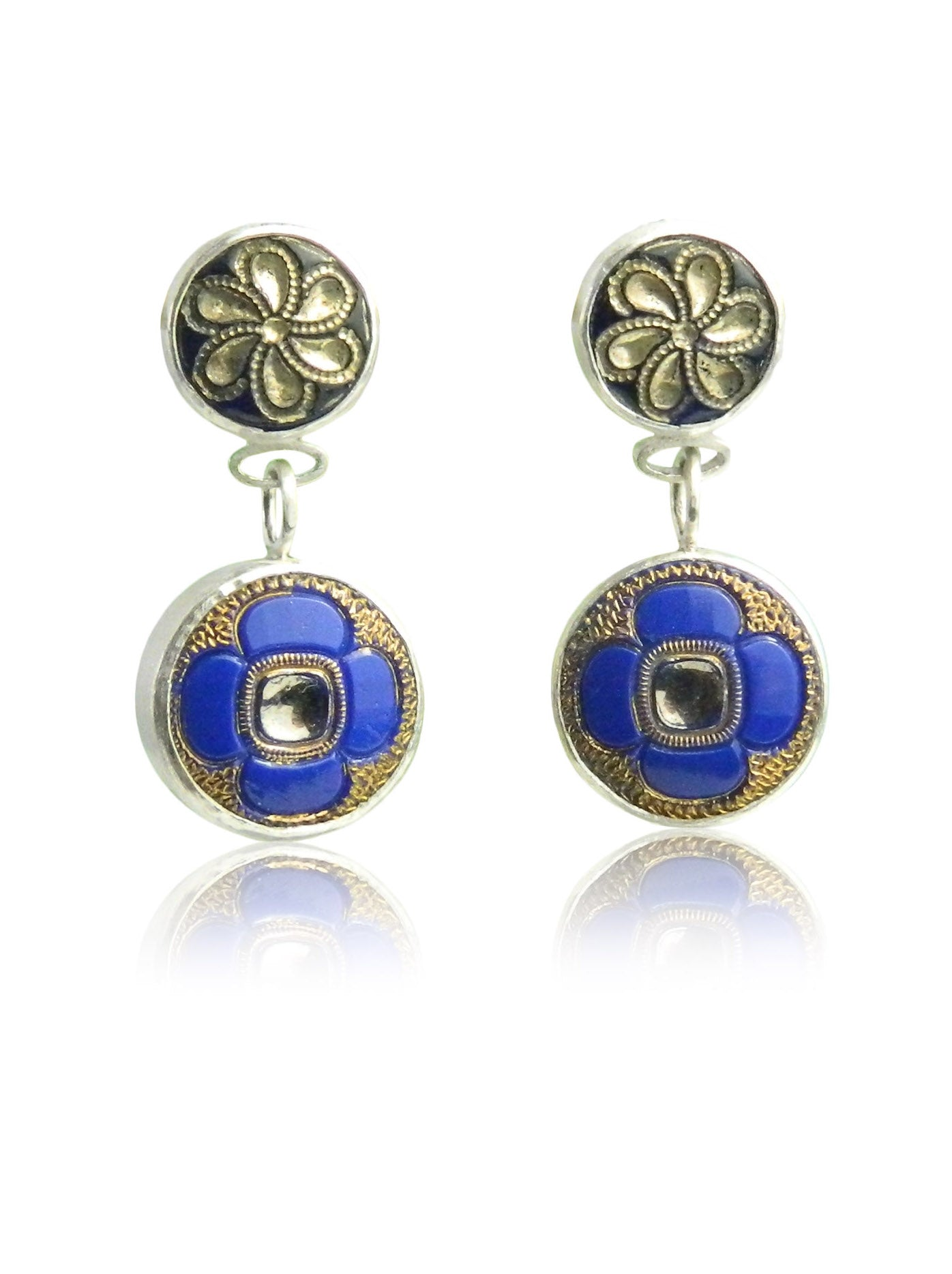 Blue flower double drop earrings