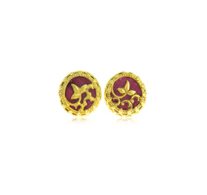 Burgundy stud earrings
