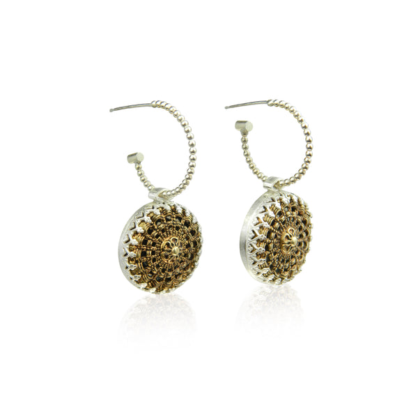 Filigree bobble hoop earrings