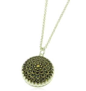 Filigree domed pendant and chain