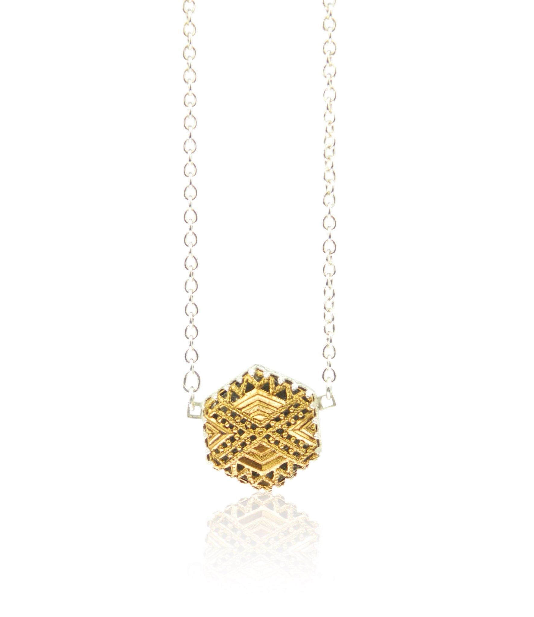 Hexagonal filigree pendant and chain