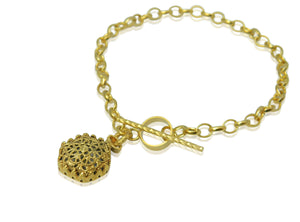 Hexagonal filigree 22ct gold plated silver bracelet