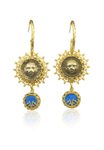 Double drop lion earrings