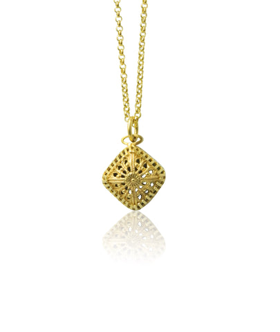Small square filigree pendant and chain
